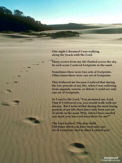 Original Footprints In The Sand Poem Mary Stevenson That's not Jesus... : ...